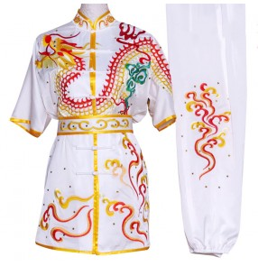 Custom size white marital art wushu competition performance clothing for boys girls with embroidered dragon changquan tai ji quan competition uniforms kungfu taichi clothing for children men women