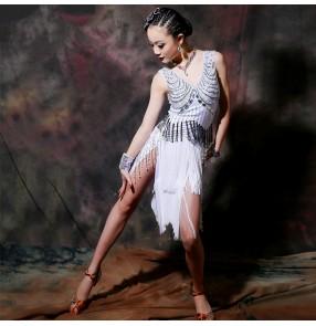 Custom size white rhinestones competition girls women's latin dance dresses tassels salsa samba dance dresses costumes