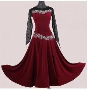 Custom size Wine with black ballroom dance dresses for women girls long sleeves competition diamond foxtrot waltz tango ballroom dancing dress ballroom dance skirts for female