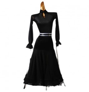 Custom size women girls black ballroom dancing dresses competition professional waltz tango ballroom dance dresses