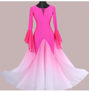 Custom size women girls Hot pink gradient colored ballroom dance dresses waltz tango foxtrot dance dress ballrom waltz dance gown