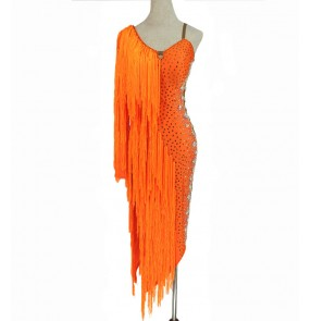 Custom size women girls orange fringed diamond competition latin dance dresses handmade bling stage performance professional salsa rumba chacha dance dress dance skirts for lady