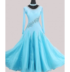 Custom size women girls turquoise red diamond competition ballroom dance dresses professional waltz tango foxtrot smooth dance gown