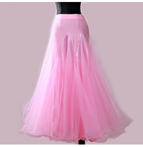 Custom size Women's girls competition ballroom dancing skirts pink red royal blue kids female tango walt flamenco dance skirts