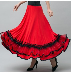 Custom size women's girls red black ballroom dancing skirt waltz tango dance skirts stage performance costumes