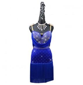 Custom size women young girls royal blue diamond fringed competition latin dance dress rumba salsa chacha dance dress latin dance clothing for female