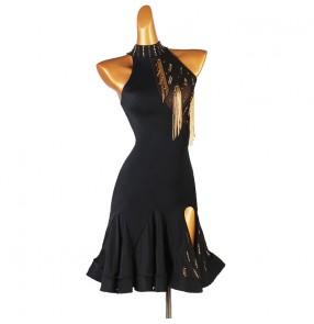 Customized diamond Latin dance dress for women black tassels latin skirts Professional art examination beads tassel competition suit Latin dance dress for women