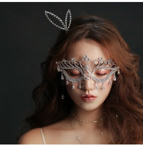 Dance stage performance Masquerade bling Mask Catwoman Halloween silver diamond Cutout Prom Party Mask Accessories