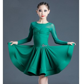 Dark green Children's Latin dance dresses girls' professional examination clothes ballroom Latin dance skirts for kids