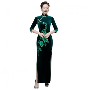 Dark green Chinese dresses qipao retro oriental traditional retro dress cheongsam miss etiquette model show performance dress