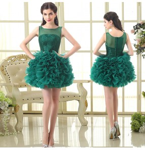 dark green lace Evening dresses cocktail banquet birthday party prom dresses for women girls Tutu skirt bridesmaid dress host singers performance dress for women