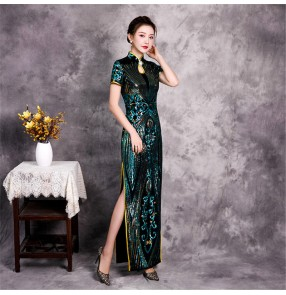 Dark green sequins chinese dresses qipao oriental traditional dresses miss etiquette show performance host singers evening party dresses