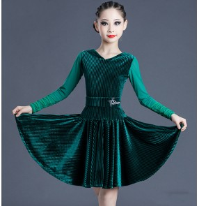Dark green velvet long sleeves competition latin dance dress for girls kids ballroom salsa dance dress latin dance costumes