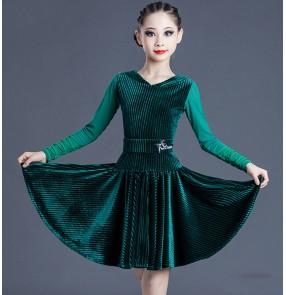 Dark green velvet long sleeves competition latin dance dress for girls kids ballroom salsa dance dress latin dance costumes