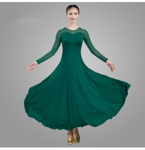 Dark green white ballroom dancing dress for women female waltz tango dance dress
