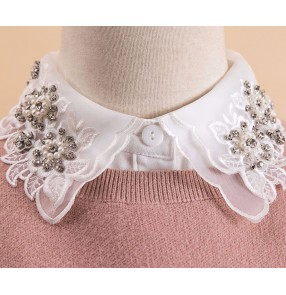 Detachable false collar for women girls Japan Korean style handmade beaded fake collar women hollow dickey collar wholesale shirt fake collar