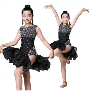 Diamond competition latin dresses black color stage performance professional rumba chacha salsa dancing costumes dresses