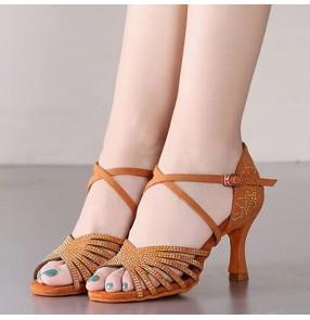 Diamond flesh color Latin dance shoes female adult soft-soled high-heel professional dance shoes national standard rumba chacha ballroom dance shoes