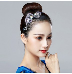 Diamond headdress for women girls ballroom latin rumba waltz tango modern folk dance stage performance  competition hair accesories
