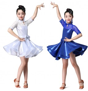Discount Children white latin dance dresses white blue lace latin dance skirts costumes stage performance modern dance dresses