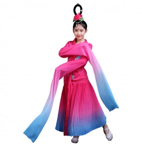 discount Girls Chinese folk dance costumes children kids traditional water fall sleeves fairy chang e cosplay stage performance dresses