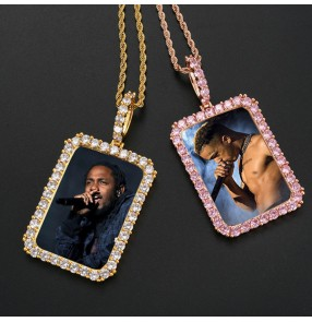 DIY customized photos hiphop necklace birthday Photo frame Pendant Commemorative Gift Gold Plated Zircon Square lover family memory wedding anniversary celebration Hip Hop Necklace
