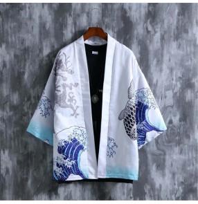 Dragon printed Cardigan for Men Yukata tops shirts Japanese Kimonos Summer shirts for male Traditional Unisex Harajuku Beach Loose Thin Sun-protective Shirts