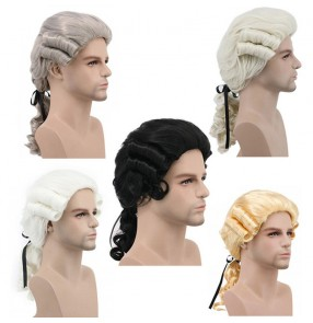 Drama photos film party cosplay wig for men women masquerade male baroque colonial male wig headgear wig