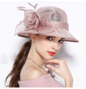 Elegant court linen hats fedoras rose flower sinamay church hats ceremony summer sunshade big brim female party hat