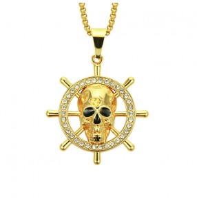 European American Style hip-hop rapper jazz dance skull ship rudder pendant bling necklace men personalized skull pendant chain  singers gogo daners necklace choker