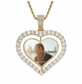 European and American custom photo necklace memory frame photos necklace solid pendant street dance gogo dancers hip hop jewelry necklace