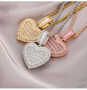 European and American Hiphop custom photo necklace flip Love Collection gift necklace Frame Pendant Full of Zircon Hip Hop Necklace Jewelry