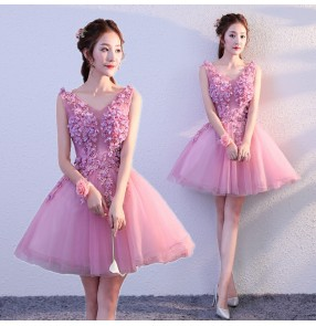 Evening dress lace pink color wedding evening cocktail party graduation prom gown for women bridesmaid dress Host singers costume