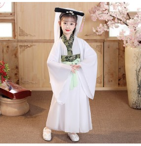 Fairy dresses for kids chinese hanfu costume white lady child film cosplay stage performance dresses Chinese style Bai Suzhen costume