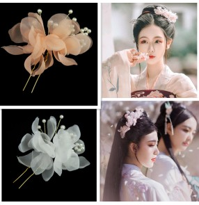 Fairy princess hanfu hair accessories for women girls Bride headdress fairy flower side clip pearl clip hair accessories Hanfu U-shaped clip needle flower