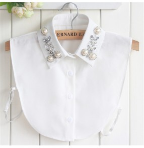 Fake Collar detachable collar dickey collar for Women's Shirt Rhinestone Beaded  Pearl decoration half Shirt chiffon Fake Collar