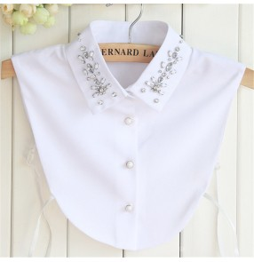 Fake collar detachable collar for female chiffon half top shirt dickey collar with rhinestones decoration square collar shirt fake collar