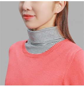 Fake collar knitted shawl scarf collar sweater detachable collar for women girls decoration black grey striped false detachable high collar