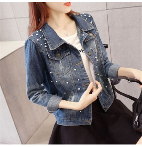 Fashion beaded blue denim short coat European and American slim beaded denim jacket trendy women's jacket