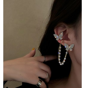 Fashion bling Butterfly tassel earrings for women girls ear bone clip integrated earrings ear clip without pierced female fashion earrings