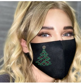 fashion Christmas tree Reusable face mask glitter sparkly bling washable Reusable face masks for unisex