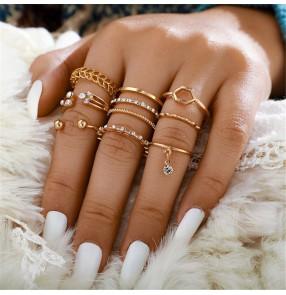 fashion Diamond set ring Fashion diamond pendant geometric gold all-match 8-piece rings for women