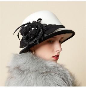 Fashion flower woolen fedoras hat Autumn And Winter Fisherman hat ladies British ladies dome felt top hat