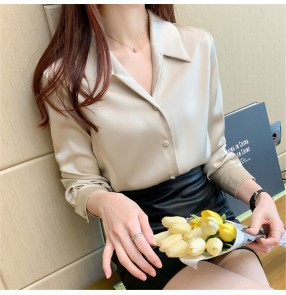 Fashion long-sleeved Satin shirt champagne office lady shirts blouses loose and thin temperament satin shirt female professional shirt