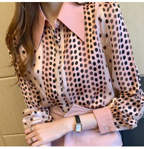Fashion pink polka dot chiffon shirt for women office lady work blouses Korean style temperament shirt satin patchwork shirt women