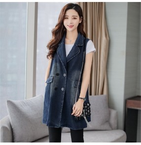 Fashion plus size lapel collar denim vest women Denim waistcoat spring and autumn mid-length waistcoat