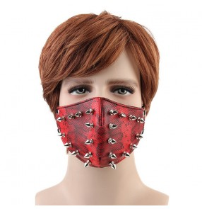 Fashion punk rock rivet face masks riding dust proof masquerade jazz dance mask