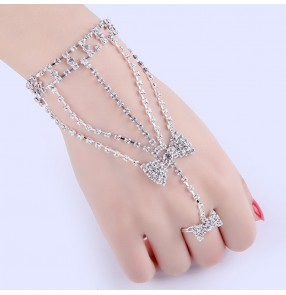 Fashion rhinestones wedding party rings bracelet jewelry stage performance photos shooting fingers chain bracelet for female