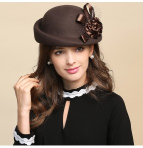 Fashion wool baret Hats for women girls fisherman hat handmade coffee silver wine black wool hats party fedoras hat top hat woolen retro hat for women