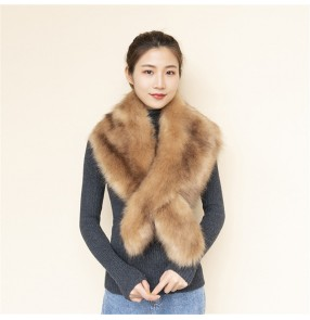 Faux fox fur shawl detachable fur collar for women fur scarf warm winter shawl fur collar for female